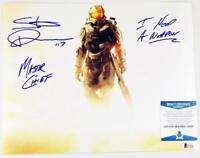 STEVE DOWNES MASTER CHIEF SIGNED HALO 11x14  METALLIC PHOTO BAS COA 081