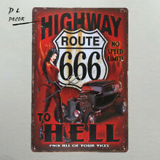 DL-highway to hell Metal Sign vintage crosses wall sticker Home Decor