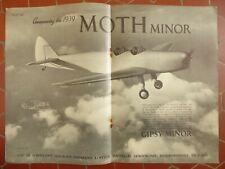 8/1938 PUB DE HAVILLAND AIRCRAFT MOTH MINOR GIPSY MINOR ENGINE ORIGINAL AD