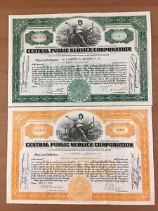 Central Public Service Corporation 2 Stock Certificates Orange & Green 1929
