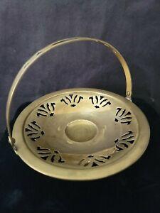 Vintage - Brass Jar Candle Holder With Handle Display Stand/Basket