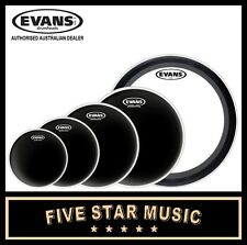 "EVANS BLACK CHROME + 22"" EMAD 5 PCE DRUM SKIN SET 10"" 12"" 14"" 16"" 22"" HEADS"