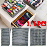 3/6Pcs Closet Storage Boxes Bra Underwear Organizer Drawer Divider Kit Foldable