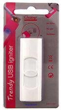 Cigarette Lighter - Champ Trendy USB White Plastic - NEW