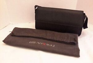 Bruno Magli Black Pebble Snap Leather Baguette Handbag + Dustbag Made in Italy