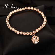 Crystal Inside Hollow Ball Pendant Beads Bracelets For Women 18K Rose Gold SL278