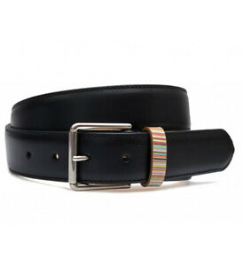 Paul Smith Mens Black Signature Stripe Keeper Leather Belt