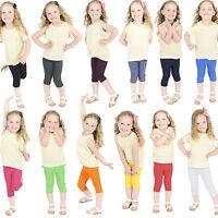 Children Kids Cropped Cotton Leggings 3/4 Length, Summer Dance