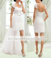 Custom Short Lace Removable Train Bridal Gown Wedding Dress 6-8-10-12-14-16++