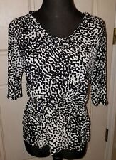 Merona Black & White Quarter Length Sleeves Elastic Waist Shirt Size XS