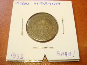 RARE RARE !! SYRIA - French Protectorate , 5 Piastres 1933 MEDAL ALIGNMENT coin