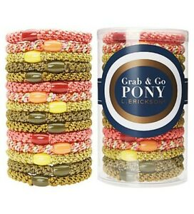 BRAND NEW - L. Erickson Grab and Go Pony Tube CACTUS Colorway, 15 Pack Hair Ties