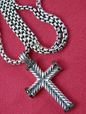 "David Yurman Men's Sterling Silver Chevron Cross w/Black Diamonds 22"" Chain $900"