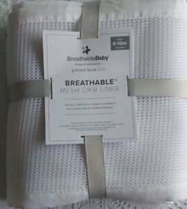 Pottery Barn Kids Breathable Mesh Crib Liner White Ages 0-12M