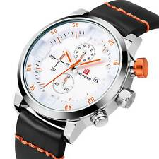 Men's White Quartz Chronograph Sport Army Date Watch Stainless Steel Luxury New