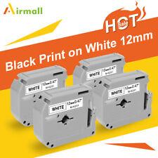 4PK M-K231 MK231 Fit Brother P-Touch M Tape 12mm White Label Maker PT90 PT80 US