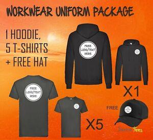 Workwear Package 1 Hoodie + 5 T-Shirts Logo Custom Printed Uniform Personalised