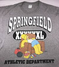 Vintage Mens 2XL 1998 90s Homer Simpson Springfield Athletic Department T-Shirt