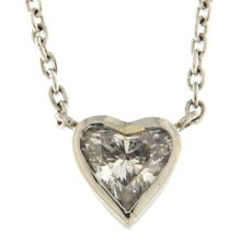 Lovely Diamond Heart Necklace 1.65 CTS .950 Platinum 17 Inches
