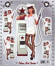 Sticker GAS PUMP PIN-UP GIRL - Made in USA - Style BIKER HARLEY