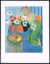 1940's Old VINTAGE Abstract Woman & Flowers MATISSE Art Gravure Color PRINT [b]