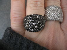 14 KT White Gold & Pave Black & White Diamond Thick Wide Cigar Band Ring...NEW