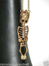 NEW Gold Tone Skeleton w/ Crown Necklace Pendant w/ Chain NWT