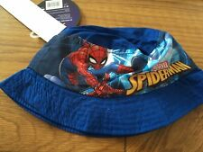 Spiderman Marvel Boys Summer Sun Bush Hat. Blue 2-8 Years. UV Protection UPF 30+