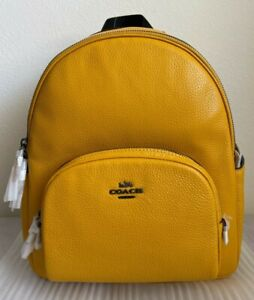 Brand New with Tags Coach 5666 Court Leather Backpack $398 Ochre Original Packag
