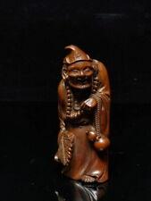 Decorative Exquisite Handwork Boxwood Carved Mad Monk Auspicious Elegant Statue