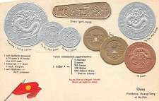CHINA, EMBOSSED GOLD, SILVER & COPPER COINS POSTCARD, FRENCH VERSION, c. 1904-14