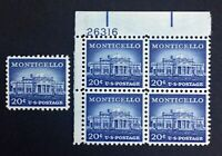 US Stamps, Scott #1047 Monticello 20c Plate Block & single. XF M/NH. Gorgeous!
