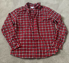 Mens Gap Red Plaid Flannel Button Up Shirt Size Large Standard