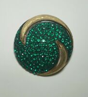 VTG JJ Signed Paved Green Rhinestone Brushed Gold Tone Brooch MID-CENTURY Pin