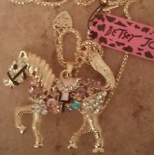 Horse Betsey Johnson necklace  crystals new 22 inch long with ext. NWT tail move