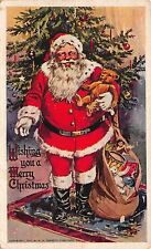 Christmas Postcard Santa Claus Teddy Bear Toy Filled Bag Candlelit Tree~112676