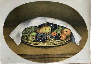 Nino Tirinnanzi litografia Cestino di frutta coperto 65x46 firmata numerata 1972