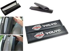 2PCS VOLVO Black Carbon Fiber Look Embroidery Logo Seat Belt Cover Shoulder Pads
