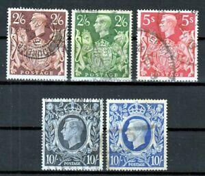 GB Great Britain UK 1939 - 1942 ☀ KGVI 2/6, 5s & 10/- ☀ 5v used