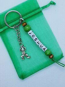 Personalised frog Keyring, frog toad gifts, bag name tag, nature gifts