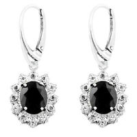 925 Sterling Silver Majestic Black Oval Cubic Zirconia Leverback Earring & Set
