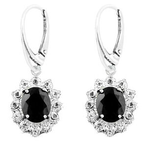 925 Sterling Silver Majestic Black Oval Cubic Zirconia Leverback Earring & Set