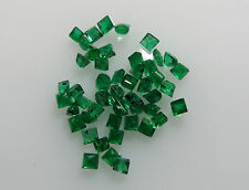1.5mm 1.02cts 48pc Natural Loose Brazil Green Emerald Lot Square Non-treated