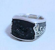David Yurman Men's Black Onyx Waves Three Sided Signet Silver Ring 10 $695 NWT