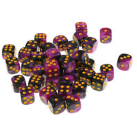 50x Round Corner Dice Purple Black Six Sided D6 Dies 12mm for Card Game RPG