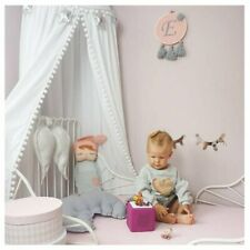 Loaol Kids Bed Canopy W/Pom Pom Hanging Mosquito Net for Baby Play Room White B1