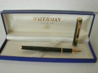 Waterman Exclusive Fountain Marble Green Laque Gold F  IDEAL 18Kl 750
