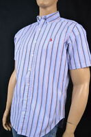 Ralph Lauren Blue, Gray & Red Stripe Oxford Short Sleeve Shirt/ Red Pony-NWT