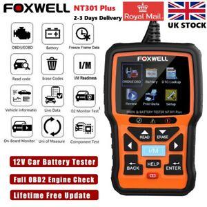 Foxwell NT301 Plus Car Engine Code Reader OBD2 Scanner Diagnostic Battery Tester