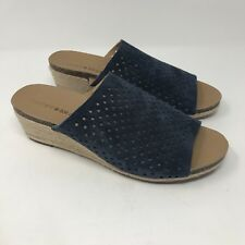 WOMENS LUCKY BRAND BLUE SUEDE JEMYA WEDGE Mule Shoes Open TOE SANDALS SZ 8